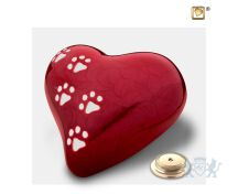 Large Heart Pet Urn Pearl Red and Pol Silver foto 1