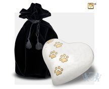 Medium Heart Pet Urn Pearl White and Bru Gold foto 1