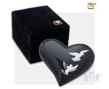 Nirvana Adieu Heart Keepsake Urn Midnight and Pol Silver foto 1