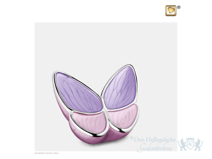 Wings of Hope Keepsake Urn Pearl Lavender and Pol Silver foto 1