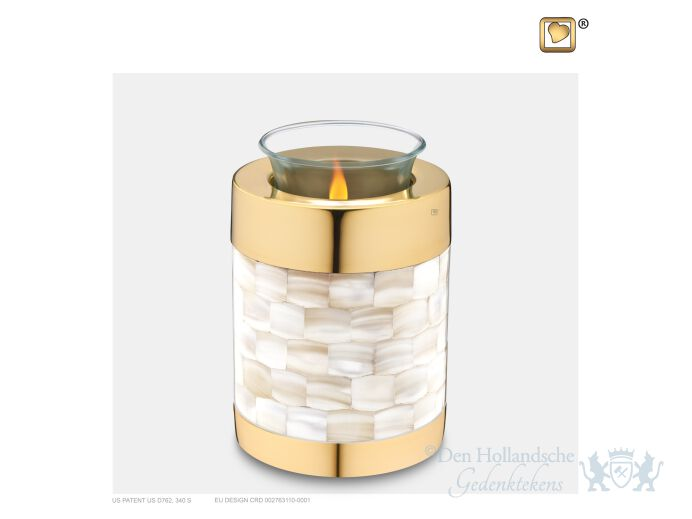 Mother of Pearl Tealight Urn Pol Gold foto 1
